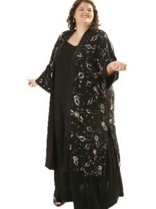 Plus Size Special Occasion Kimono Coat Beaded Silk Black Silver