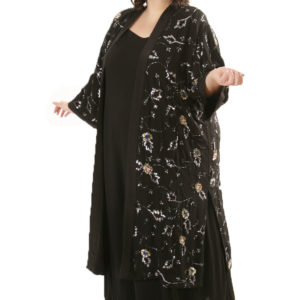Plus Size Special Occasion Kimono Coat Beaded Silk Black Silver