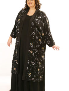 Plus Size Special Occasion Kimono Coat Sequins Silk Black Silver Blue