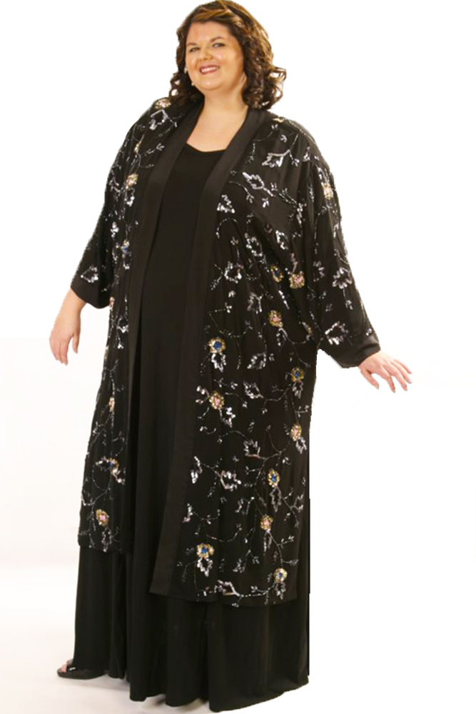 67ed9508873 Plus Size Special Occasion Kimono Coat Sequins Silk Black Silver Blue