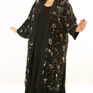 Plus Size Mother of Bride Kimono Coat Sequins Silk Black Blue Silver