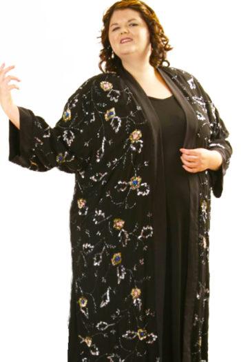 Plus Size Special Occasion Kimono Coat Sequins Silk Black Silver Blue