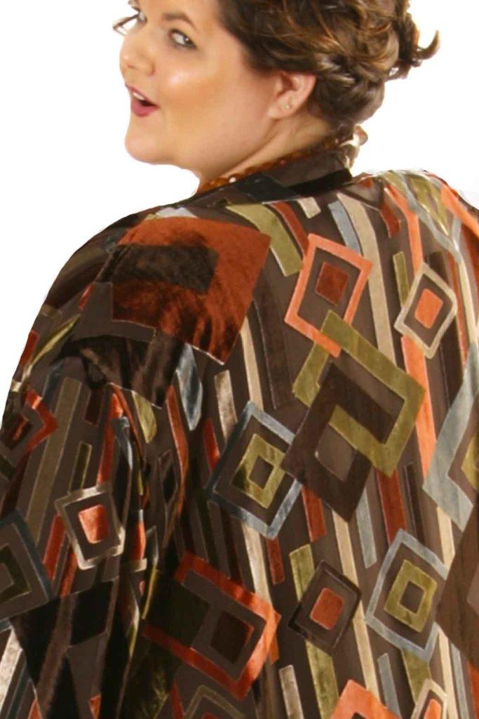 Plus Size Special Occasion Kimono Coat Silk Velvet Burnout Deco Naturals