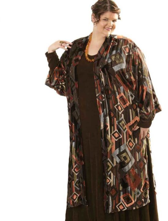 Plus Size Special Occasion Kimono Coat Silk Velvet Burnout Deco Naturals