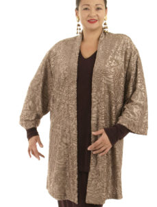 Plus Size Designer Tunic Length Kimono Stretch Filigree Taupe