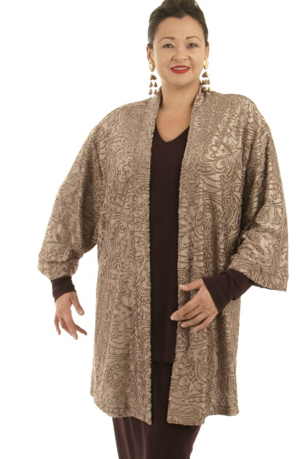 Plus Size Designer Tunic Length Kimono Stretch Filigree Taupe