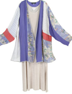 Plus Size Special Occasion Jacket Silk Floral Periwinkle Coral Ivory