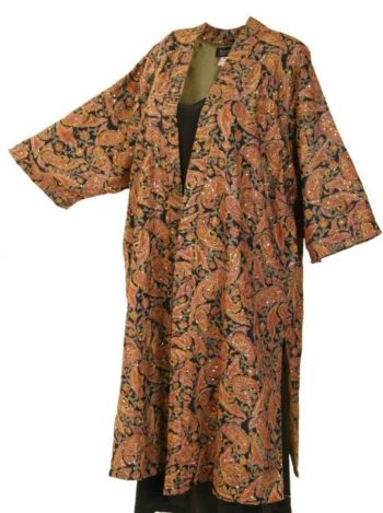 Plus Size Special Occasion Kimono Coat Sequins Silk Paisley Ginger