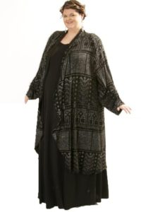 Plus Size Designer Formal Evening Coat Deco Sparkle Black Silver Sizes 18/20, 26/28