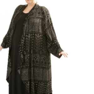 Plus Size Designer Formal Evening Coat Deco Sparkle Black Silver