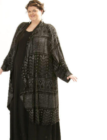 Drape Lapel Coat Blk Deco Sparkle4CAT