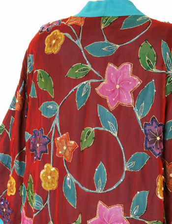 Plus Size Special Occasion Kimono Jacket Floral Silk Beaded Red