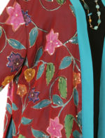 Plus Size Formal Kimono Jacket Floral Silk Beaded Artwear Turquoise Red