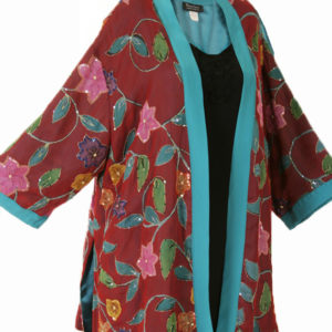 Plus Size Special Occasion Kimono Jacket Floral Silk Beaded Red Sizes 26/28, 30/32