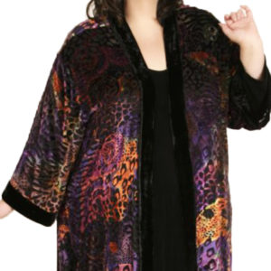 Plus Size Special Occasion Kimono Jacket Silk Velvet Black Brights