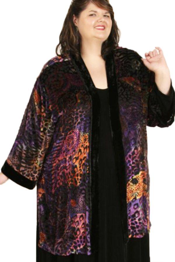 Plus Size Special Occasion Kimono Jacket Silk Velvet Black Brights