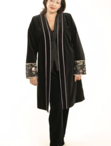Plus Size Special Occasion Empress Coat Velvet Beaded Black Lavender