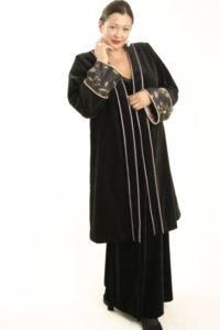 Plus Size Special Occasion Empress Coat Velvet Beaded Black Lavender