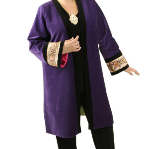 Plus Size Special Occasion Empress Coat Velvet Beaded Purple