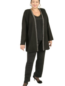 Plus Size Special Occasion Gabi Jacket Wool Diamante Black