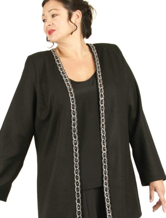 Tailored Blazer Jacket Black Wool Diamante Sizes 14 - 32