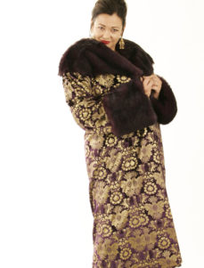 Plus Size Special Occasion Coat Silk Velvet Gold Stamped Purple