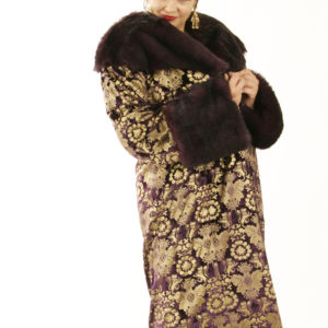 Plus Size Special Occasion Coat Silk Velvet Gold Stamped Purple Size 14/16