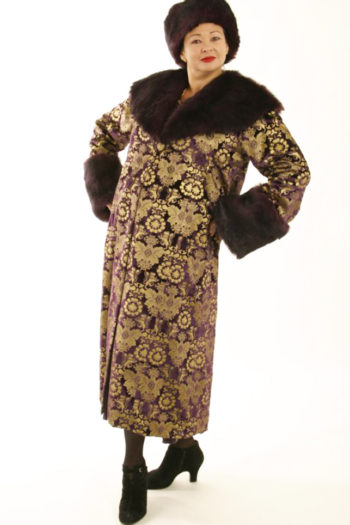 Plus Size Special Occasion Coat Silk Velvet Gold Stamped Chocolate