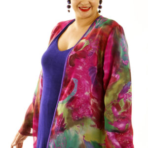 Special Occasion Jacket Hot Pink Green Purple Silk Print Chiffon Size 18/20