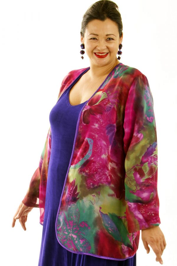 Plus Size Special Occasion Jacket Hot Pink Green Purple Silk 18/20