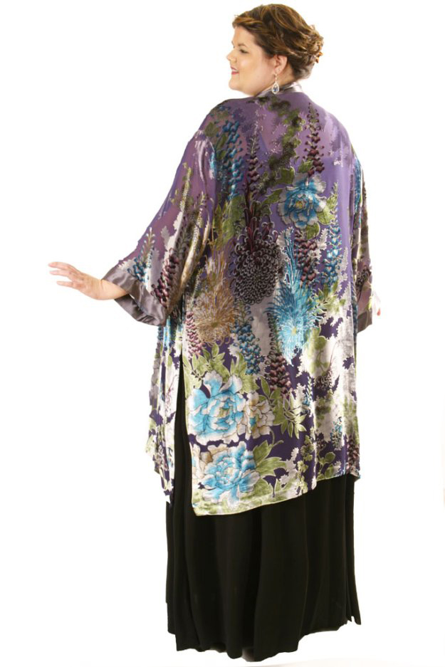 Plus Size Mother Of Bride Kimono Jacket Floral Silk Velvet