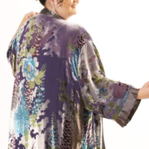Plus Size Mother of Bride Kimono Jacket Floral Silk Velvet Turquoise Gray Silver