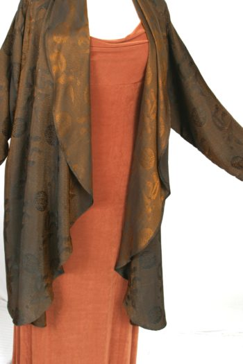 Plus Size Mother of Bride Coat Copper Brass Black Vietnamese Silk Jacquard Size 22/24