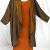 Plus Size Mother of Bride Coat Copper Brass Black Vietnamese Silk Jacquard Size 22/24