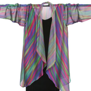 Plus Size Drape Jacket Purple Rose Green Stripes Silk 14-36