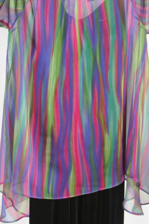 Plus Size Special Occasion Drape Jacket Rainbow Purple Rose Green Stripes Silk