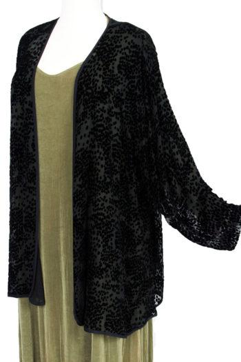 Plus Size Mother of Bride Jacket Black Pebbles Silk Velvet Burnout Sizes 22 - 28