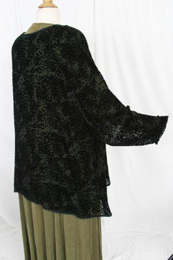 Plus Size Mother of Bride  Jacket Black Pebbles Silk Velvet Burnout Sizes 22 – 28