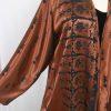 Plus Size Mother of Bride Jacket Copper Brown Pineapple Satin Burnout