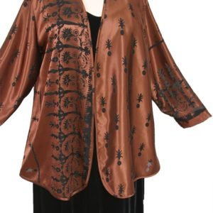 Plus Size Mother of Bride Jacket Copper Brown Pineapple Satin Burnout