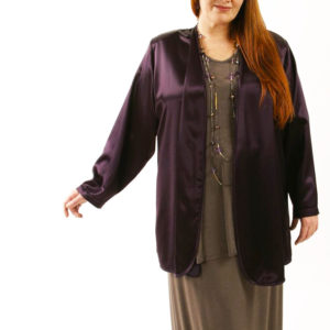 Special Occasion Formal Jacket Aubergine Rayon Satin Sizes 14 – 36