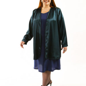 Plus Size Special Occasion Jacket Deep Teal Green Rayon Satin Sizes 14 – 36