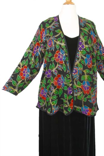 Plus Size Special Occasion Jacket Red Green Black Gold Handpainted Sequin Silk