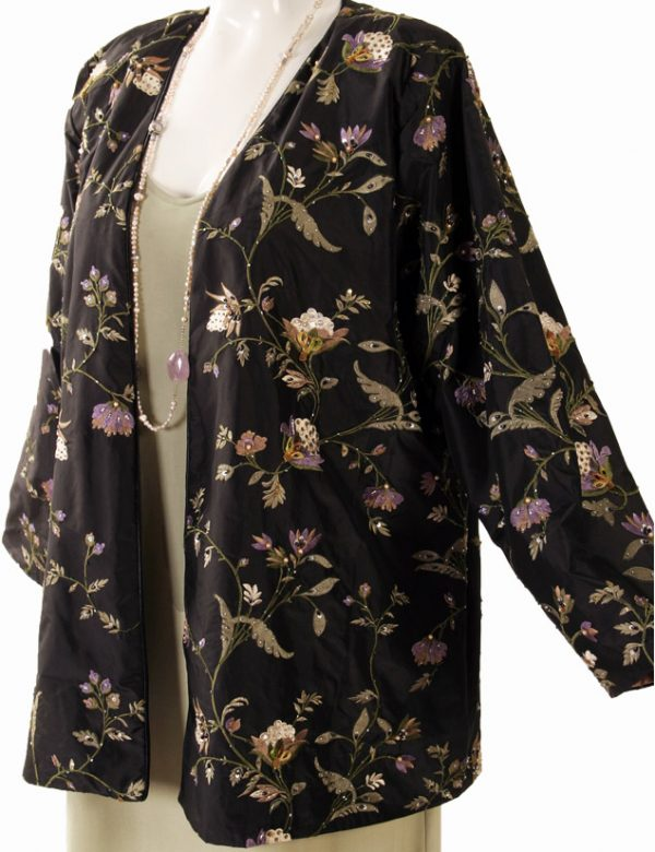 Plus Size Special Occasion Jacket Black Ivory Lavender Green Embroidered Beaded Silk Size 18/20