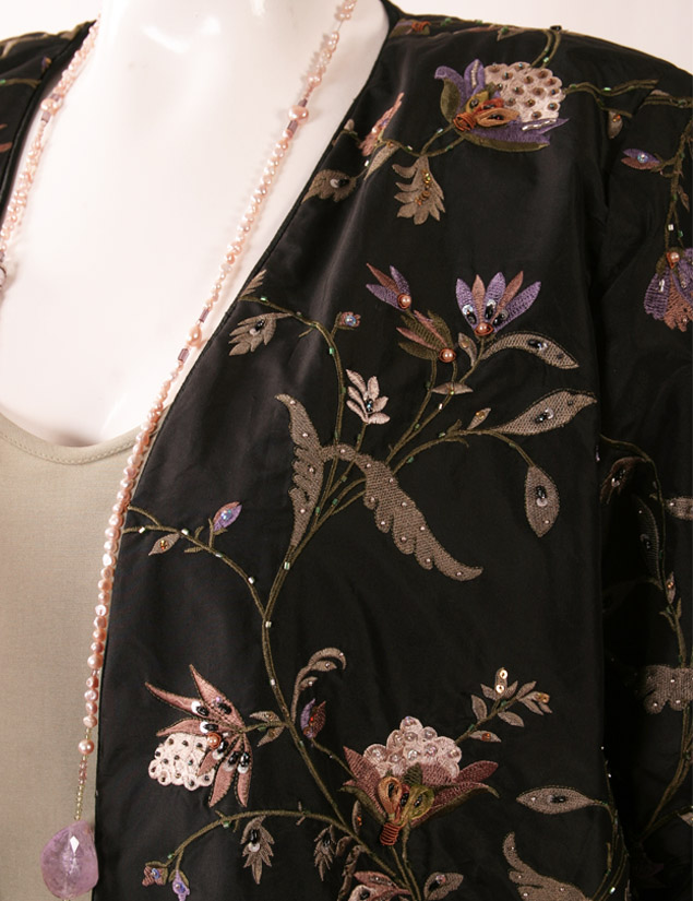 afa8a06ddc4 Plus Size Special Occasion Jacket Black Ivory Lavender Green Embroidered  Beaded Silk Size 18 20