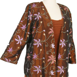 Plus Size Special Occasion Dressy Blazer Jacket Lined Copper Floral Embroidered Taffeta Sizes 18/20, 22/24, 26/28
