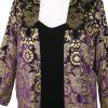 Plus Size Special Occasion Dressy Blazer Jacket Black Stamped Gold Silk Velvet Size 18/20