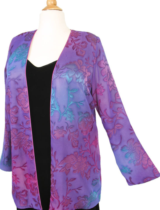 Plus Size Special Occasion Dressy Blazer Jacket Mauve Purple Teal Floral Satin Burnout Size 14/16