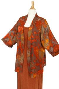 Plus Size Mother of Bride Jacket Dress Copper Taupe Persimmon Floral Burnout