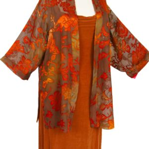 Plus Size Mother of Bride Jacket Dress Copper Taupe Persimmon Floral Burnout Sizes 14/16, 18/20